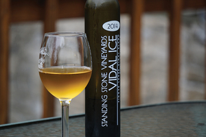 Vidal Blanc, a dessert ice wine, has hints of apricot and honey. The sweetness is made palpable by a balancing sour. The wine comes from Standing Stone Vineyards in Hector, New York