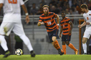 Without second-leading point-scorer Johannes Pieles, the Orange relied on unfamiliar faces to carry it on offense. Hugo Delhommelle (pictured) served the corner kick that led to SU's late-game heroics.