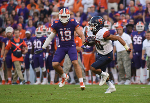 Sean Riley, shown above in SU's loss at Clemson in 2016, has averaged 29 yards per punt return this season.