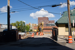 Here is a view of the construction site along South Crouse Avenue. Work began shortly after the spring 2017 semester ended. Photo taken Aug. 8, 2017
